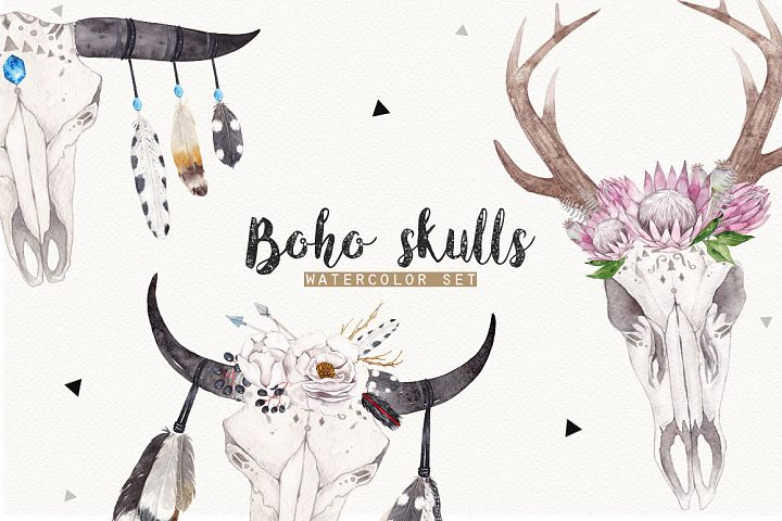 BOHO SKULLS watercolor set