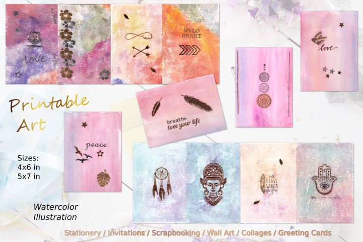 Watercolor Zen Art Card Collection