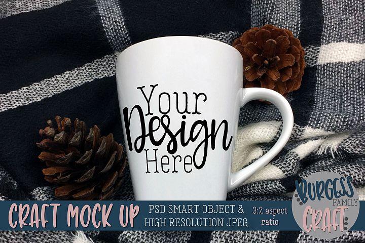 Mug craft mock up 3-2 aspect ratio Blue plaid |PSD & JPEG