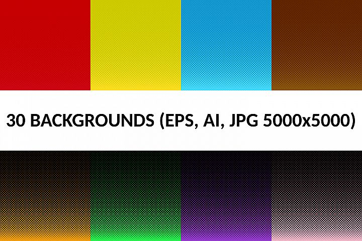 30 Halftone Square Backgrounds (AI, EPS, JPG 5000x5000)