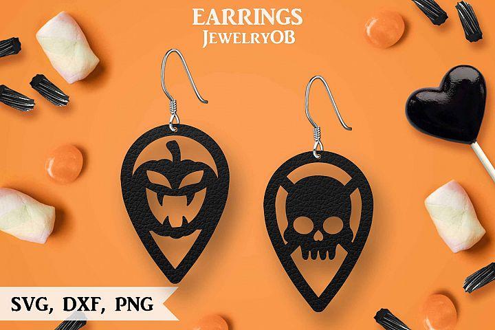 Halloween Earrings, Cut File, SVG DXF PNG Formats, Pumpkin
