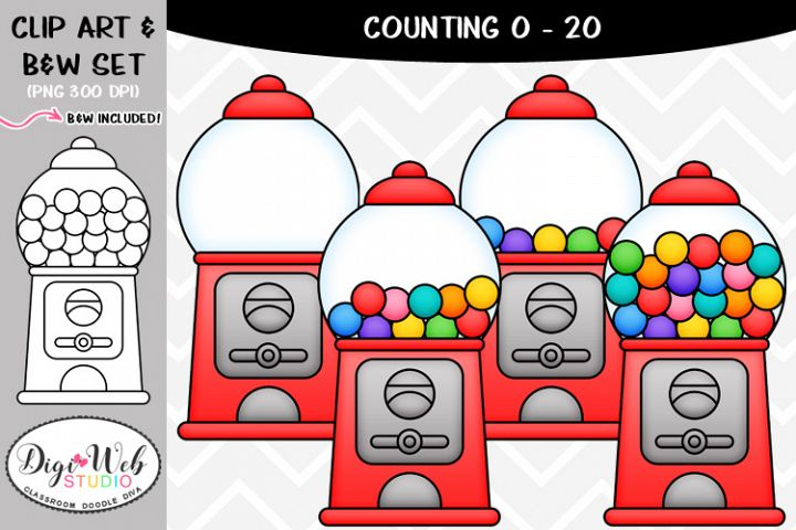 Clip Art / Illustrations - 0-20 Counting Gumballs