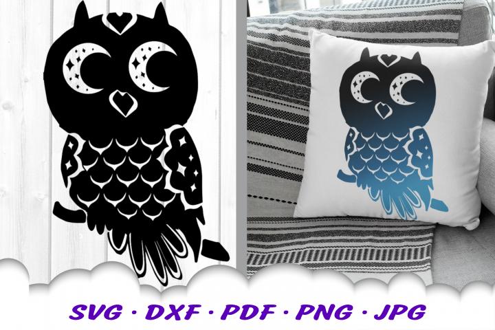 Owl Moon Stars SVG DXF Cut Files