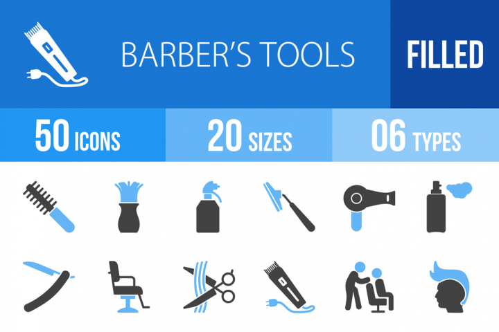 50 Barbers Tools Filled Blue & Black Icons