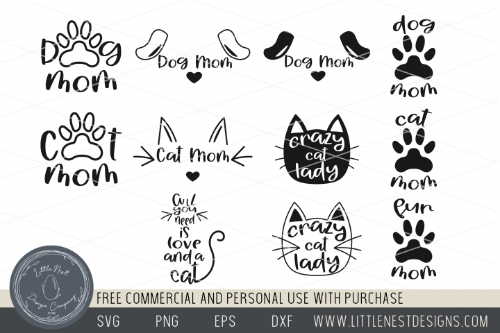 Pet SVGs Bundle - Cat Mom - Dog Mom - Fur Mom svgs