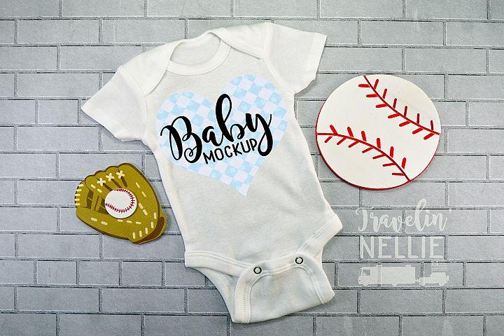 Baby Boy Baseball Theme White Blank Bodysuit Mockup Flat Lay