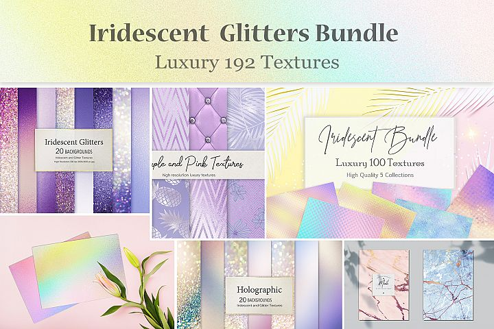 Iridescent Glitters Foil and Marble Mixed Textures BUNDLE