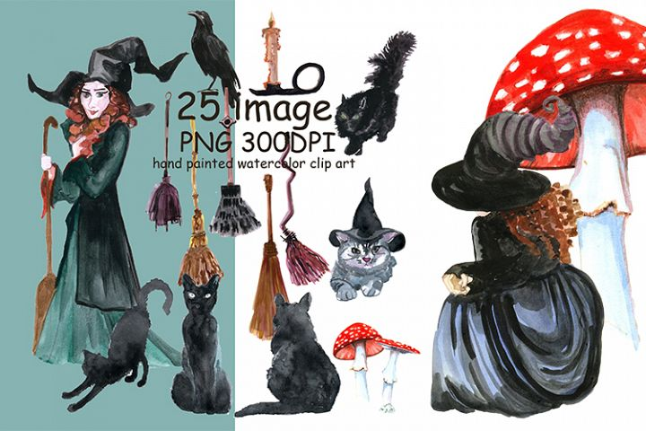 Watercolor Halloween clipart, witch, black cats and pampkins clipart