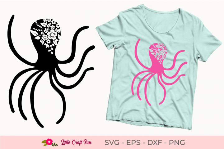 Octopus with Flowers Silhouette Svg