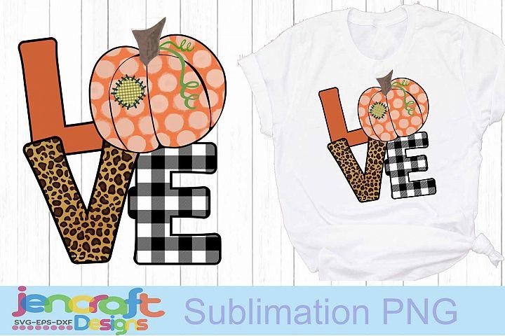 Pumpkin LOVE Thanksgiving Sublimation Print PNG file design