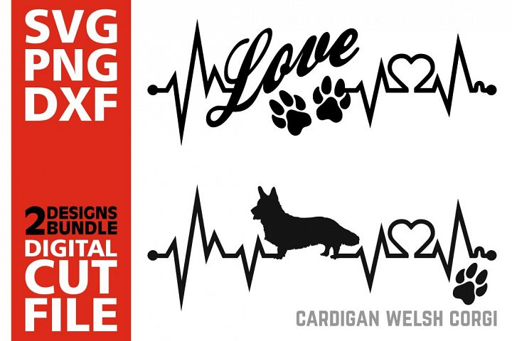 2x Cardigan Welsh Corgi Bundle svg, Dog svg, Heartbeat svg