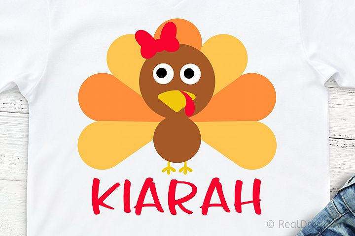 Girl Turkey Monogram with Bow SVG, DXF, PNG, EPS