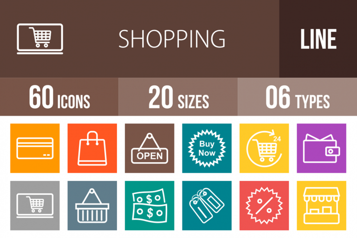 60 Shopping Line Multicolor B/G Icons