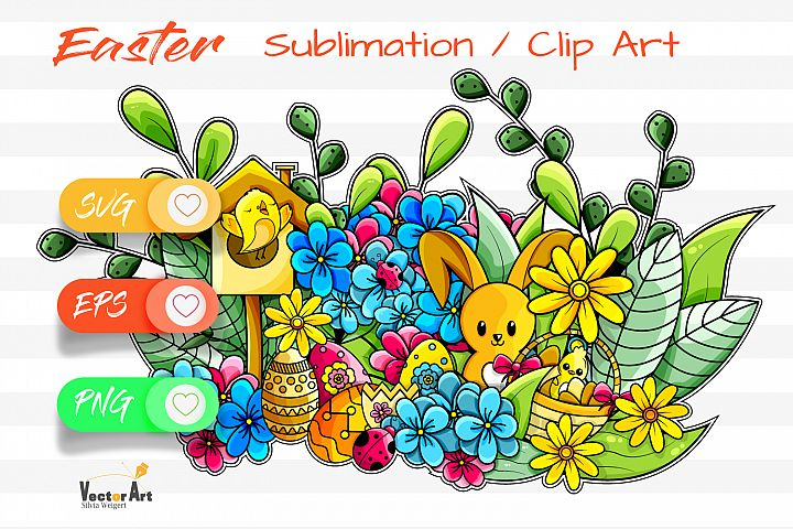 Happy Easter Illustration - Sublimation / Clip Art