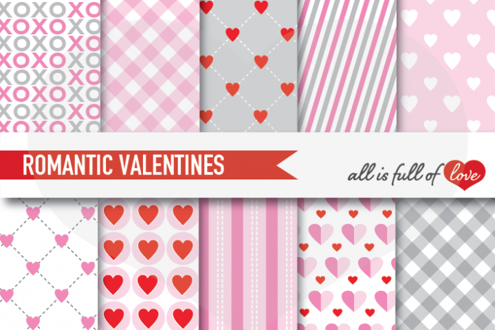Grey and Pink Valentines Day Patterns Hot Love Digital Paper Pack
