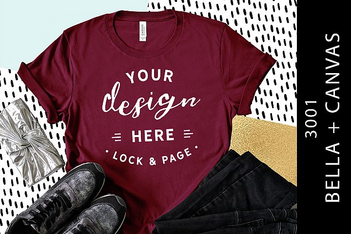 Maroon Bella Canvas 3001 T-Shirt Mockup Funky Flat Lay