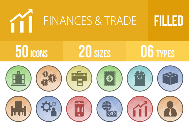 50 Finances & Trade Filled Low Poly Icons