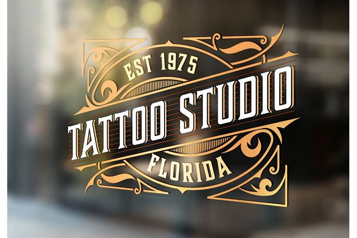 Tattoo logo template with vintage ornaments