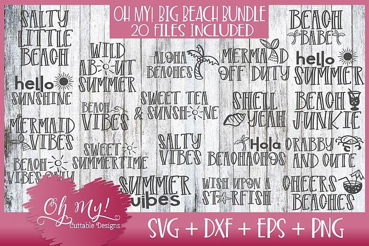 OH MY! BIG BEACH BUNDLE 20 DESIGNS SVG DXF EPS PNG
