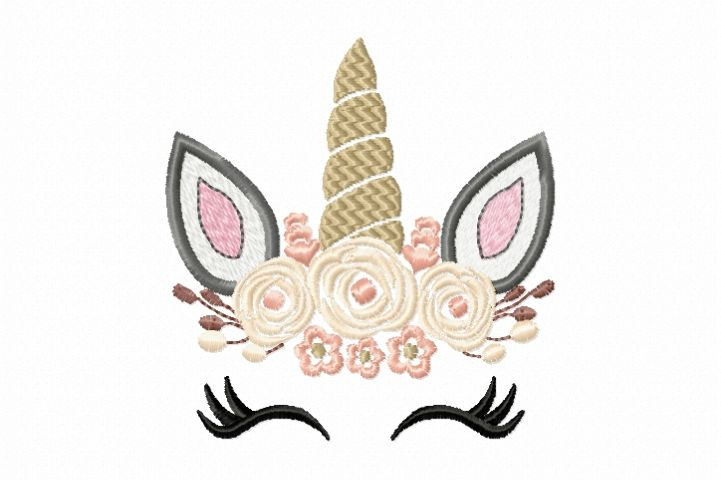Pretty Unicorn Eyes Head Floral Design - Unicorn EMBROIDERY DESIGN FILE - Unicorn Shabby Chic Face Instant download - 4 sizes