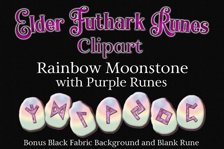 Rainbow Moonstone Elder Futhark Runes Set - Clipart Images