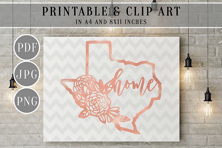 Rose Gold Foil Texas Map Printable, Clip Art, Home Decor PDF