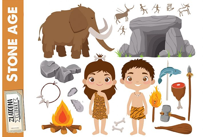 Prehistoric clipart Stone age clipart Ice age graphics