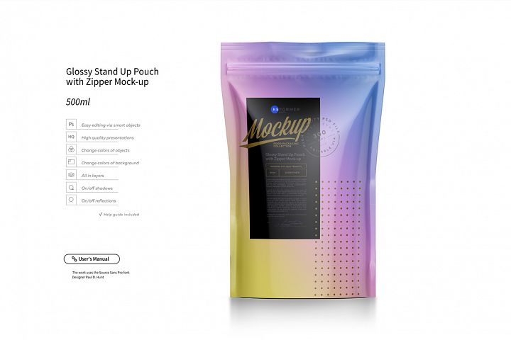 Glossy Stand Up Pouch with Zipper Mock-up