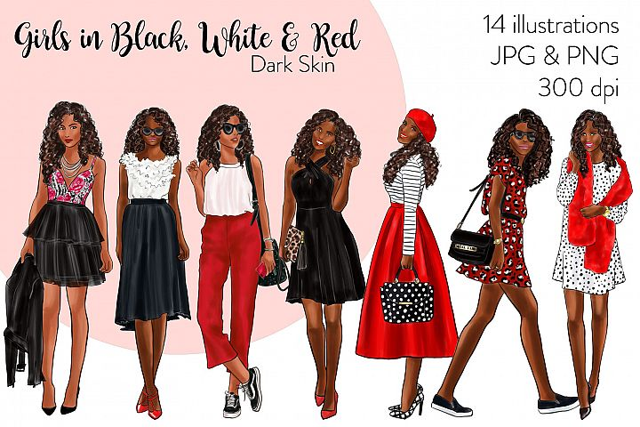 Fashion clipart - Girls in Black, White & Red light skin