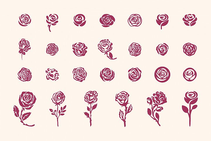 27 Rose symbols icon on white background