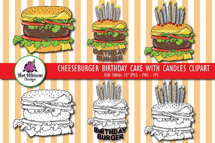Cheeseburger Birthday Cake with Candles Hand Drawn Clipart