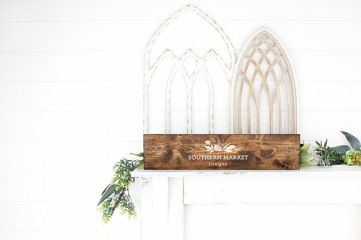 6x24 Stained Wood Sign Mock Up Farmhouse Styled Photo