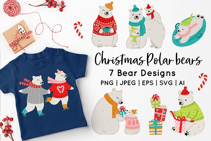 Christmas Polar Bear Vector Art