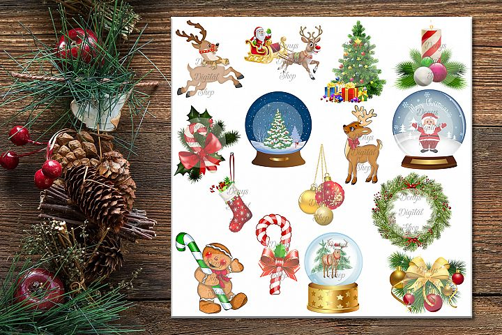 Christmas Digital Paper, Christmas Clip art, JPG & PNG files