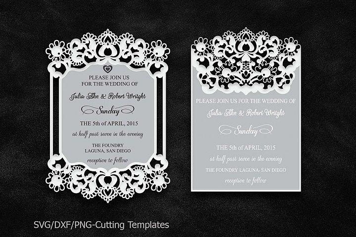 laser cut wedding invitation template svg file lace border