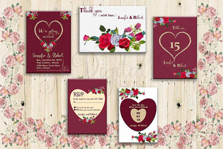 Floral Card, Wedding Card, Invitation Suite, Cards, SALE