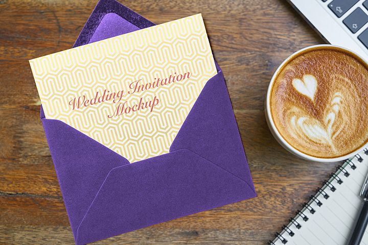 Envelope Wedding Invitation Mockup