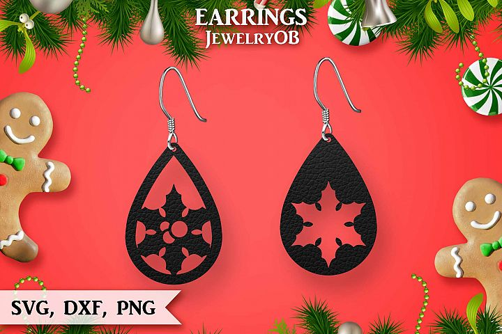 Christmas Earrings, Cut File, SVG DXF PNG, Teardrop, Berry