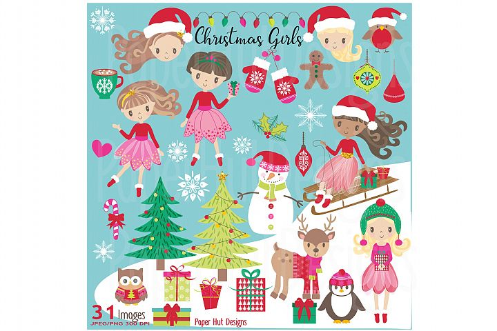 Girls Christmas Clipart