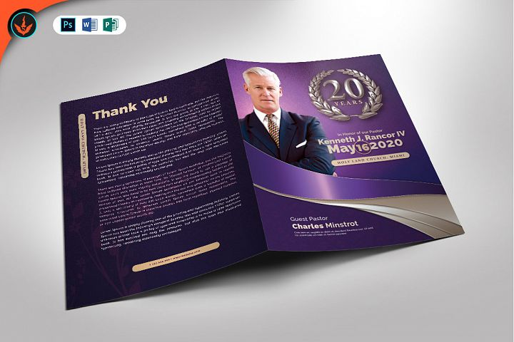 Lavender Pastors Church Anniversary Template
