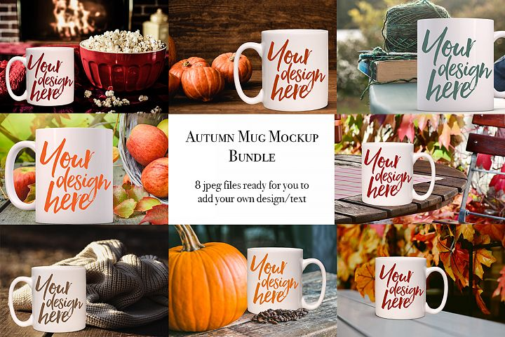 Autumn mug mock-up bundle - 8 jpeg mockups