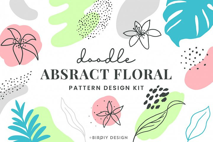 Doodle Abstract Floral Pattern Design Kit