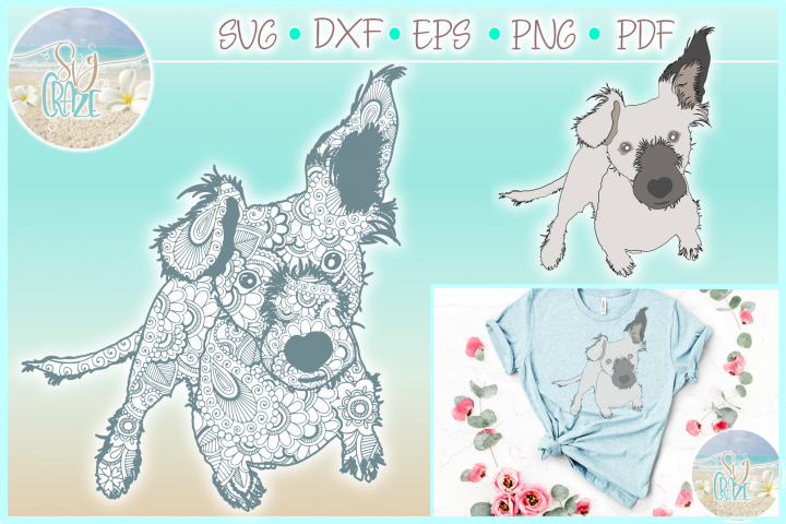 Jack Russel Dog Mandala Zentangle Svg Dxf Eps Png PDF