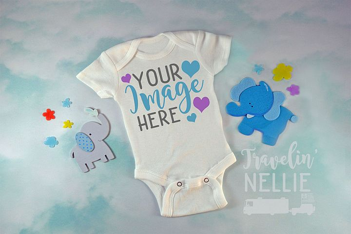Baby Boy Elephant White Blank Bodysuit Mockup Flat Lay Photo