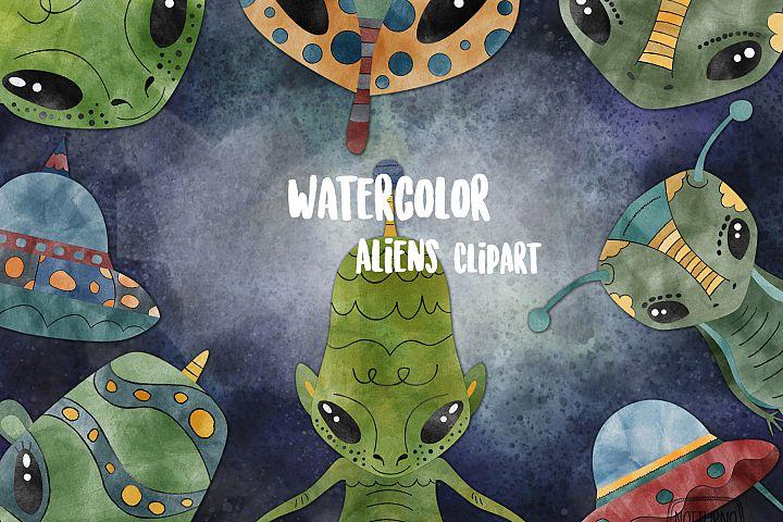 Watercolor Alien Clipart. Space clipart. Set of 10 aliens