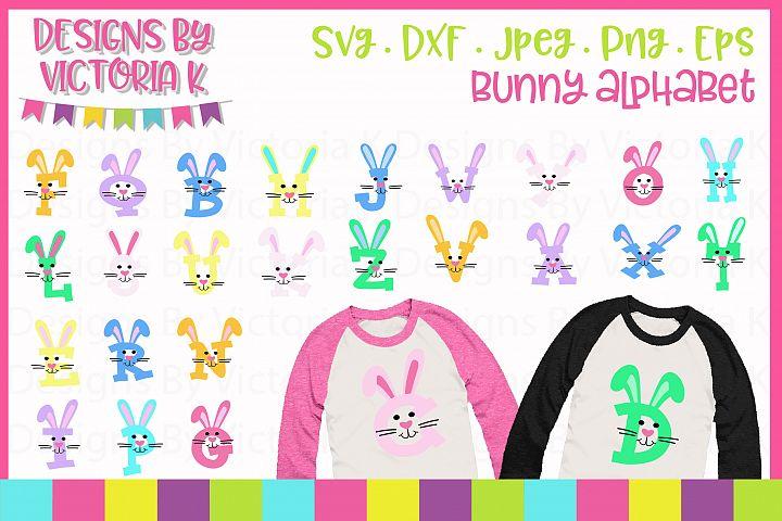 Easter Bunny Alphabet, SVG Cut File