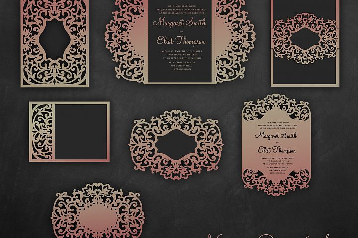 Laser cut wedding invitation Set, 5x7, Cricut Template, Gate Fold, Tri fold pocket Envelope, Bellyband, Menu, SVG, DXF, Cricut, Silhouette Cameo