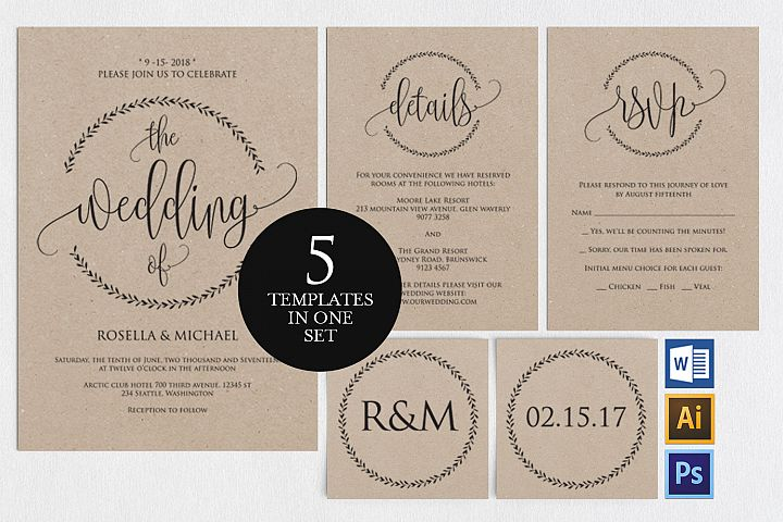 wedding invitation set portrait template TOS_2