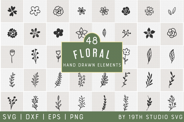 Floral Hand drawn Elements | Floral SVG Bundle| VB33
