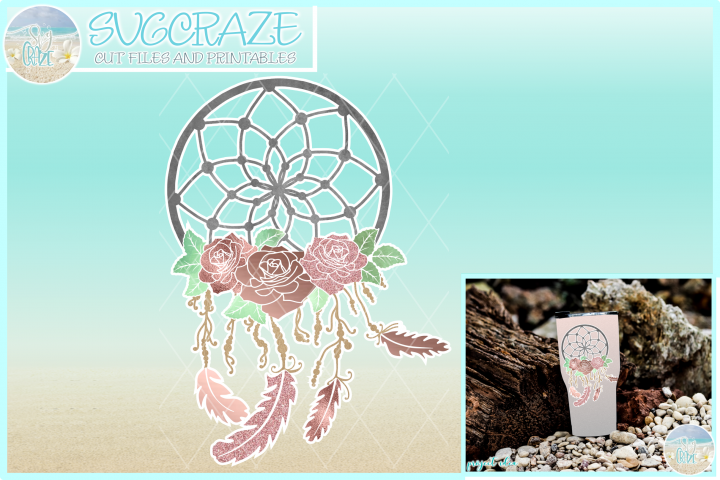 Dreamcatcher Roses Feathers Beads Sublimation PNG image